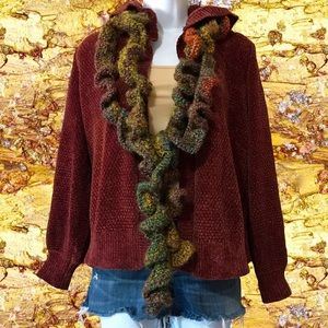 2for$30 HIPPIE ROSE Chenille Open Front Hooded Cardigan